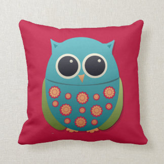 Cute Blue and Green Owl on Red Pillow
