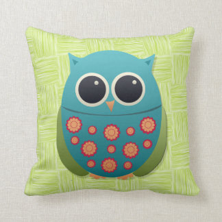 Cute Blue and Green Owl Red on Light Green Pillow