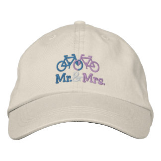 Cute Blue And Pink Bike Love Heart Wedding Embroidered Cap