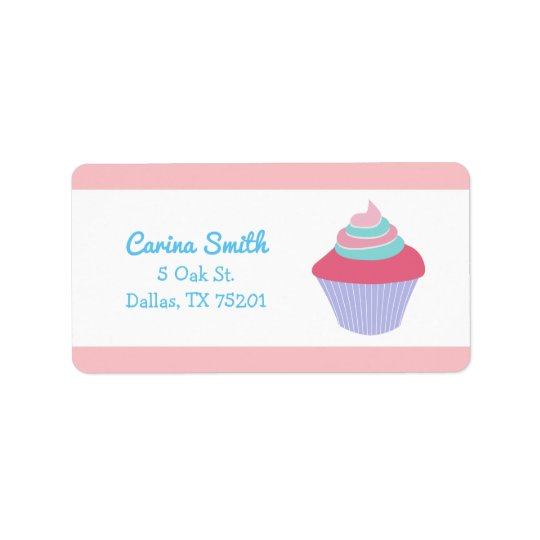 Cute Blue and Pink Cupcake Custom Address Labels