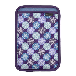 Cute Blue and Purple Snowflakes Winter Pattern iPad Mini Sleeve