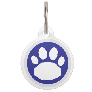 Cute Blue and Silver Paw Print Pet Tag