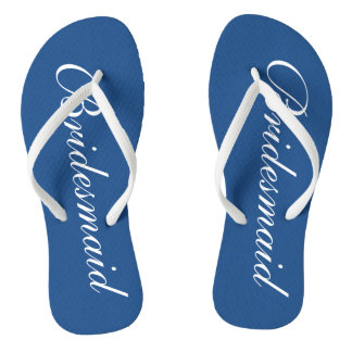 Cute blue and white bridesmaid wedding flip flops thongs