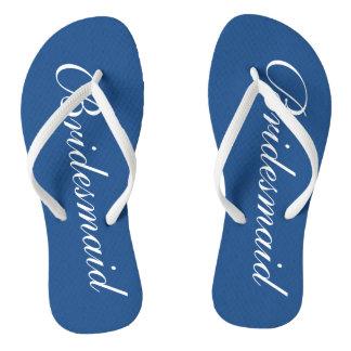 Cute blue and white bridesmaid wedding flip flops thongs
