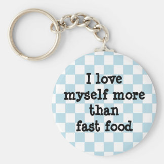 Cute blue and white checkerboard diet affirmation basic round button key ring