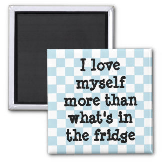 Cute blue and white checkerboard diet affirmation square magnet