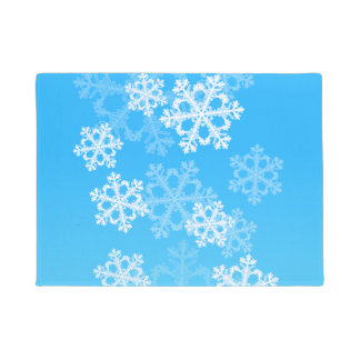 Cute blue and white Christmas snowflakes Doormat