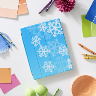Cute blue and white Christmas snowflakes iPad Cover