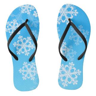 Cute blue and white Christmas snowflakes Thongs