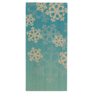Cute blue and white Christmas snowflakes Wood USB Flash Drive