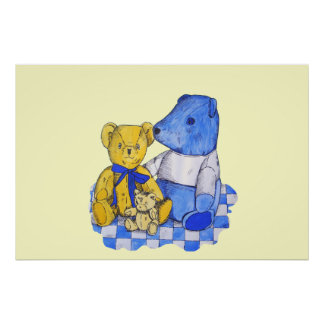 cute blue and yelllow teddy bears childrens art poster
