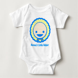 Cute blue and yellow baby in a bonnet tee shirt