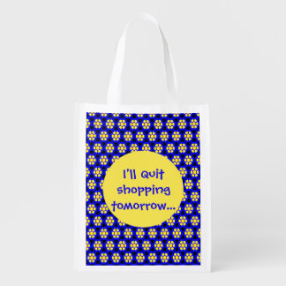 Cute Blue and Yellow Flower Pattern with Text Reusable Grocery Bag