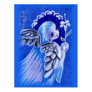 Cute Blue  Angel With Easter Lily Postcard