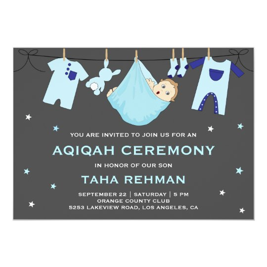 Cute Blue Baby Boy Aqiqah Invitation