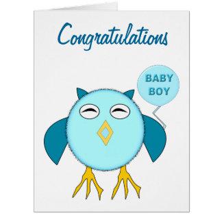 Cute Blue Baby Boy Owl Custom Card