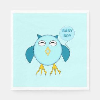 Cute Blue Baby Boy Owl Napkins Paper Napkins