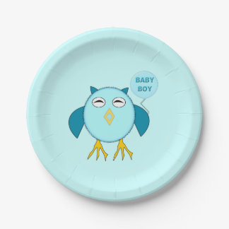 Cute Blue Baby Boy Owl Paper Party Plates 7 Inch Paper Plate