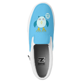 Cute Blue Baby Boy Owl Slip On Shoes Printed Shoes
