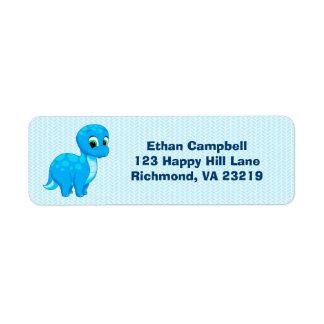 Cute Blue Baby Brontosaurus Dinosaur Return Address Label
