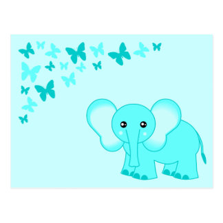 Cute Blue Baby Elephant And Butterflies Postcard