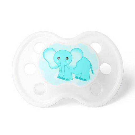 Cute Blue Baby Elephant Cartoon Pacifier | Zazzle