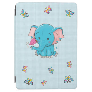Cute Blue Baby Elephant with a bird iPad Air Cover