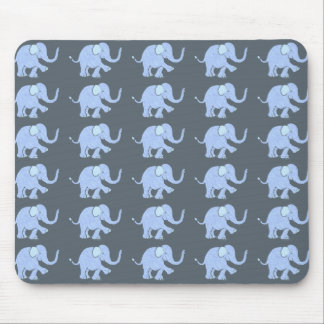 Cute Blue Baby Elephants Parade on Grey Background Mouse Pad