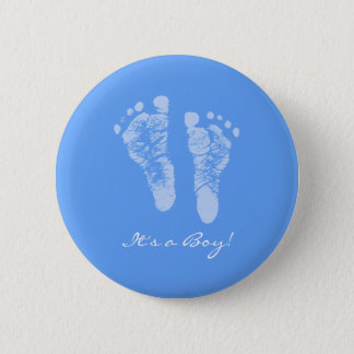 Cute Blue Baby Footprints Its a Boy Baby Shower 6 Cm Round Badge