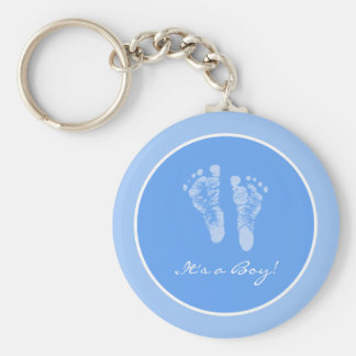 Cute Blue Baby Footprints Its a Boy Baby Shower Key Ring