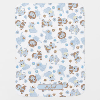 Cute Blue Baby Jungle Animals Baby Blanket