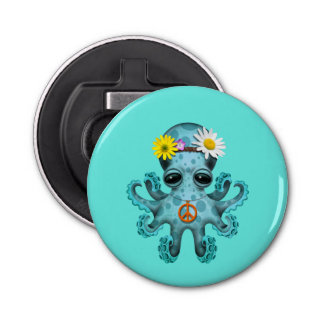 Cute Blue Baby Octopus Hippie Bottle Opener