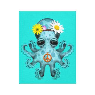 Cute Blue Baby Octopus Hippie Canvas Print