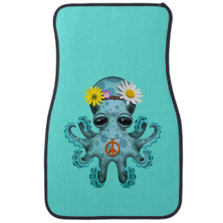 Cute Blue Baby Octopus Hippie Car Mat