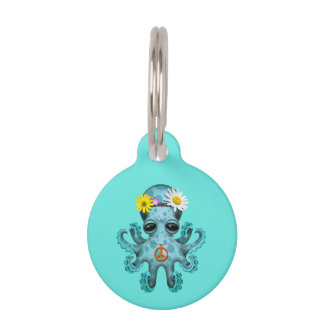 Cute Blue Baby Octopus Hippie Pet ID Tag