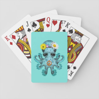 Cute Blue Baby Octopus Hippie Playing Cards