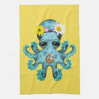 Cute Blue Baby Octopus Hippie Tea Towel