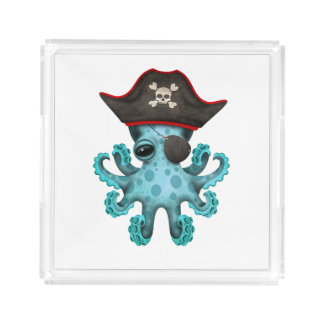 Cute Blue Baby Octopus Pirate Acrylic Tray