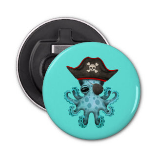 Cute Blue Baby Octopus Pirate Bottle Opener