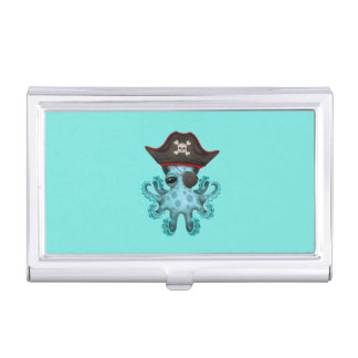 Cute Blue Baby Octopus Pirate Business Card Holder