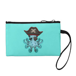 Cute Blue Baby Octopus Pirate Coin Purse