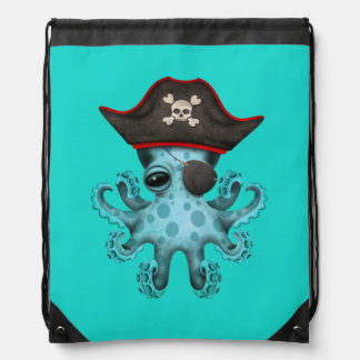 Cute Blue Baby Octopus Pirate Drawstring Bag