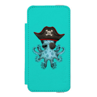 Cute Blue Baby Octopus Pirate Incipio Watson™ iPhone 5 Wallet Case