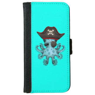 Cute Blue Baby Octopus Pirate iPhone 6 Wallet Case