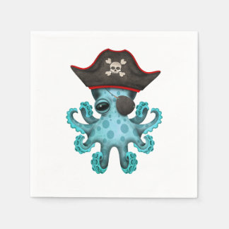 Cute Blue Baby Octopus Pirate Paper Napkin