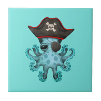 Cute Blue Baby Octopus Pirate Tile