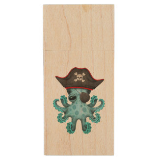 Cute Blue Baby Octopus Pirate Wood USB Flash Drive