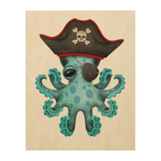Cute Blue Baby Octopus Pirate Wood Wall Art