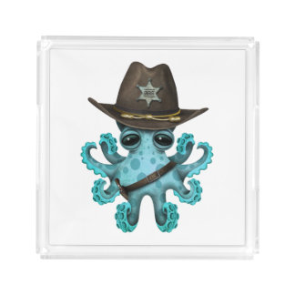 Cute Blue Baby Octopus Sheriff Acrylic Tray