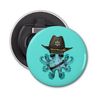 Cute Blue Baby Octopus Sheriff Bottle Opener